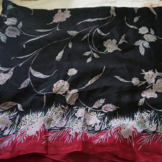 body for black sari with flowes