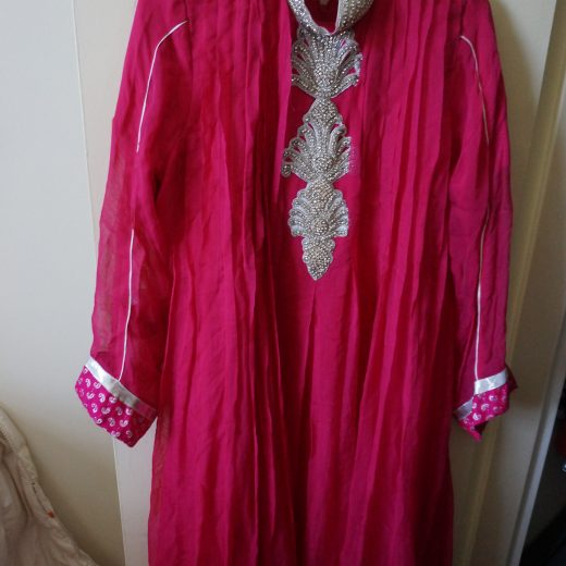 top for pink and silver anarkali with rhinestone