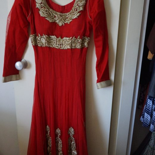 red and gold anarkali top