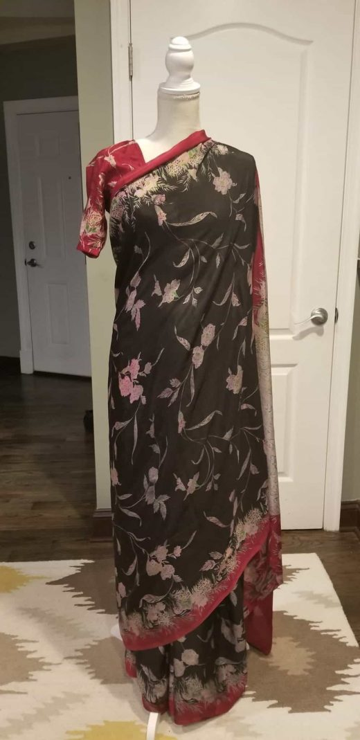black saree with red flowers front
