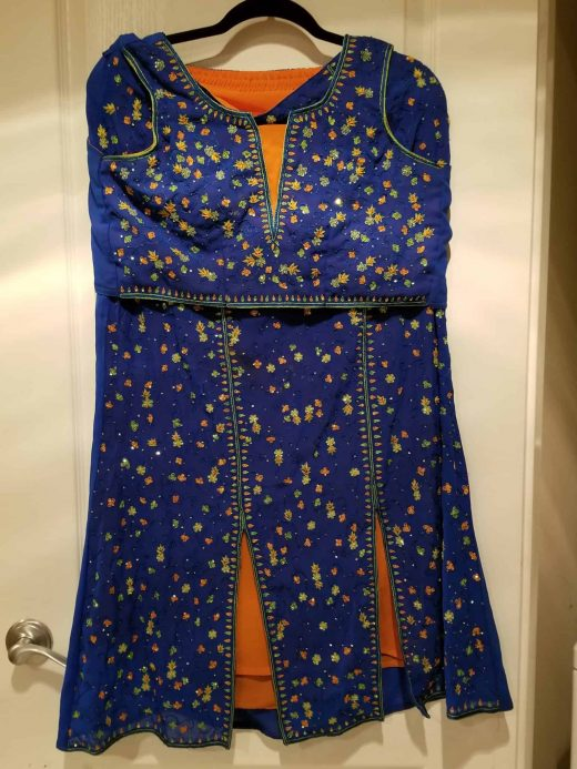 blue and orange lehenga set
