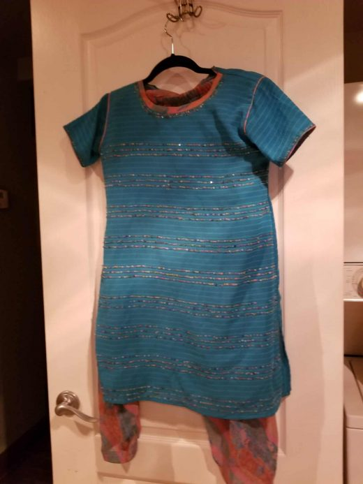 blue salwar with sequins and multicolor pants