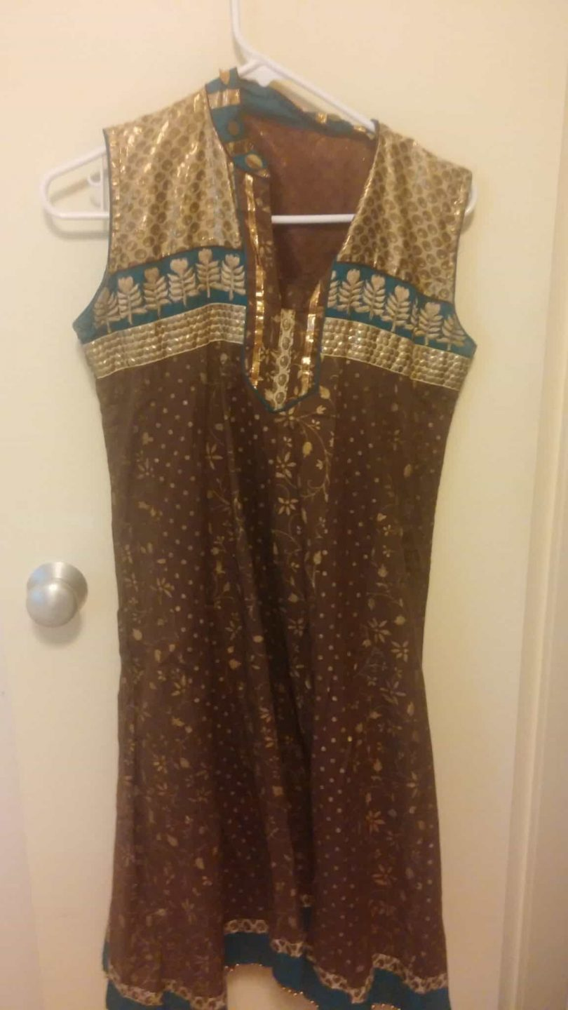 top for brown salwar with blue and gold work
