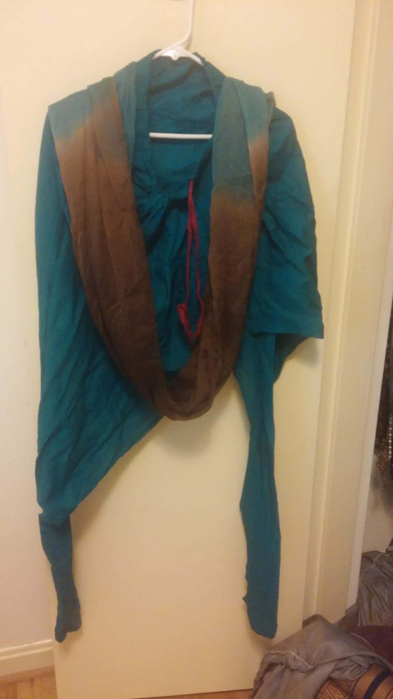 bottom and shawl for brown salwar with blue work
