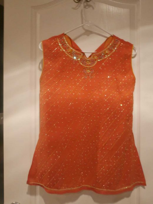 orange sparkly sleeveless top with sequins- size 34