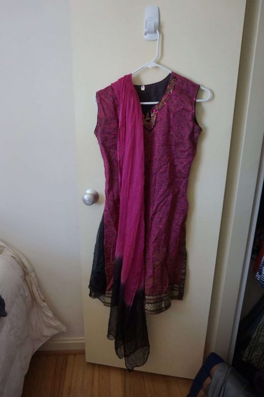 top and shawl for pink and black salwar with gold border