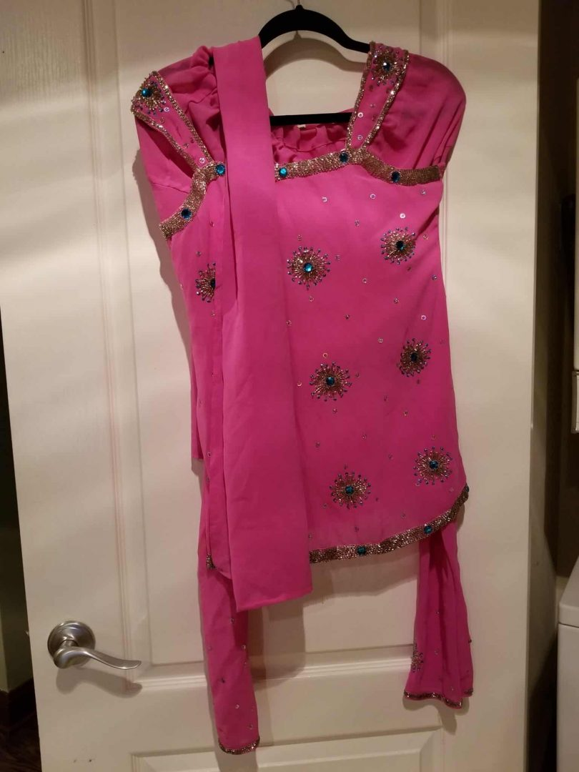 pink salwar with blue and silver work set
