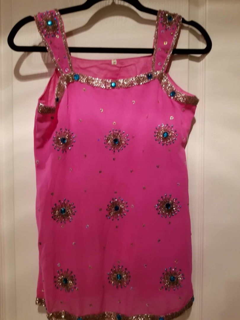 front of top of bright pink salwar