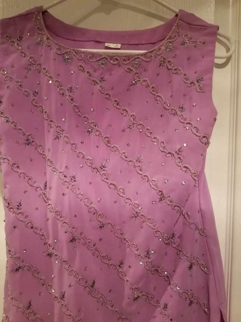 top for purple salwar with beaded work