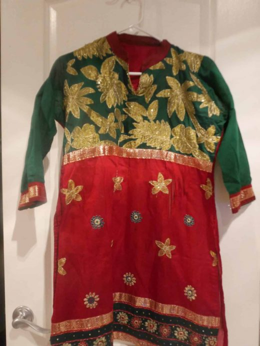 top for maroon and green salwar with gold embroidery