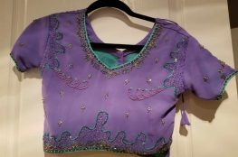 front for top for purple and turquoise lehenga