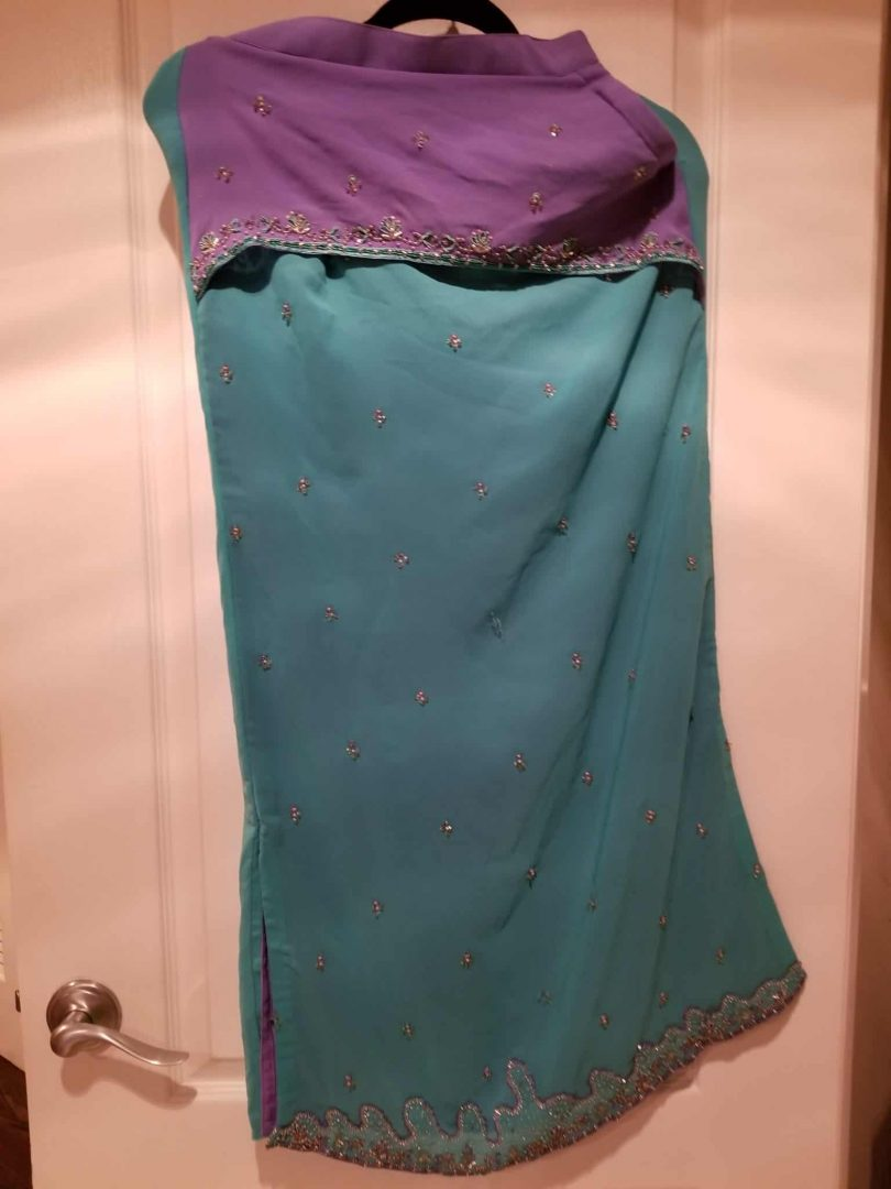 front of skirt for purple and turquoise lehenga