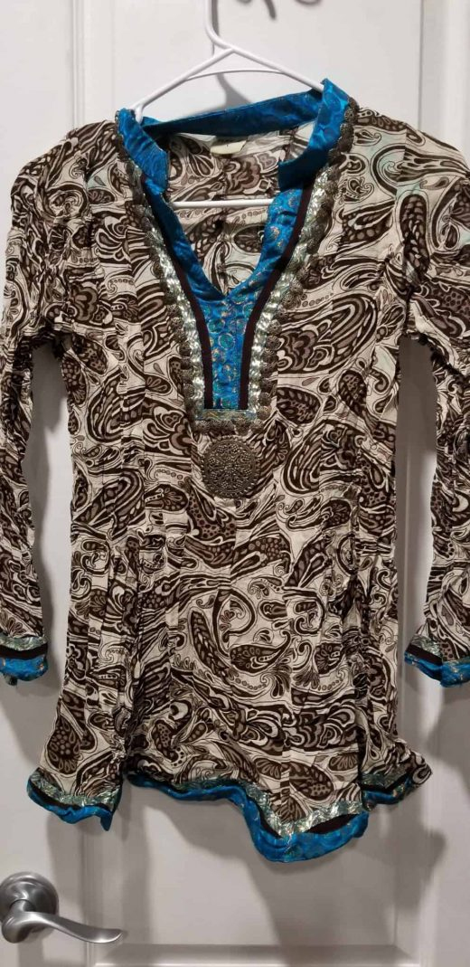 brown and blue tunic top