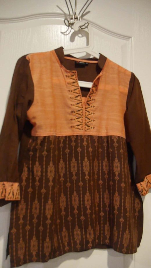 brown and pink 3/4 tunic