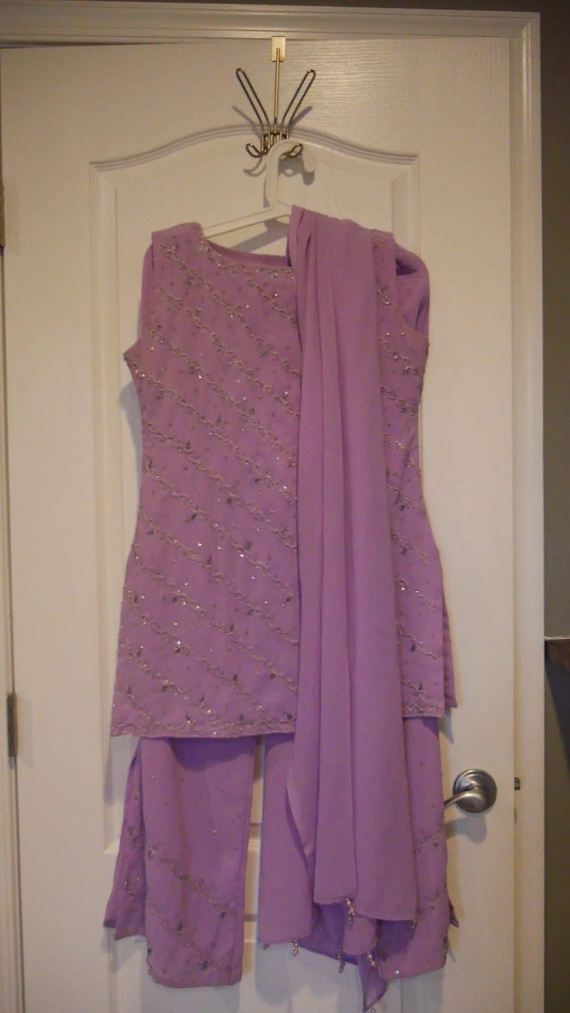 purple salwar suit with silver work