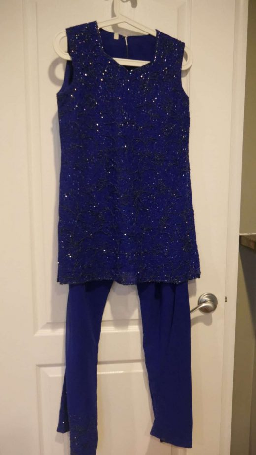 Blue salwar with sequins all over