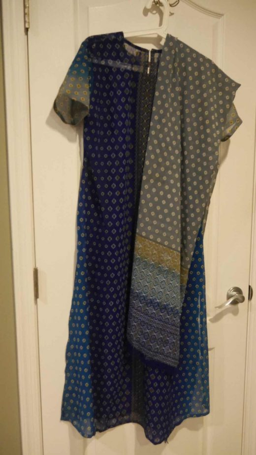 blue and grey salwar with white prints