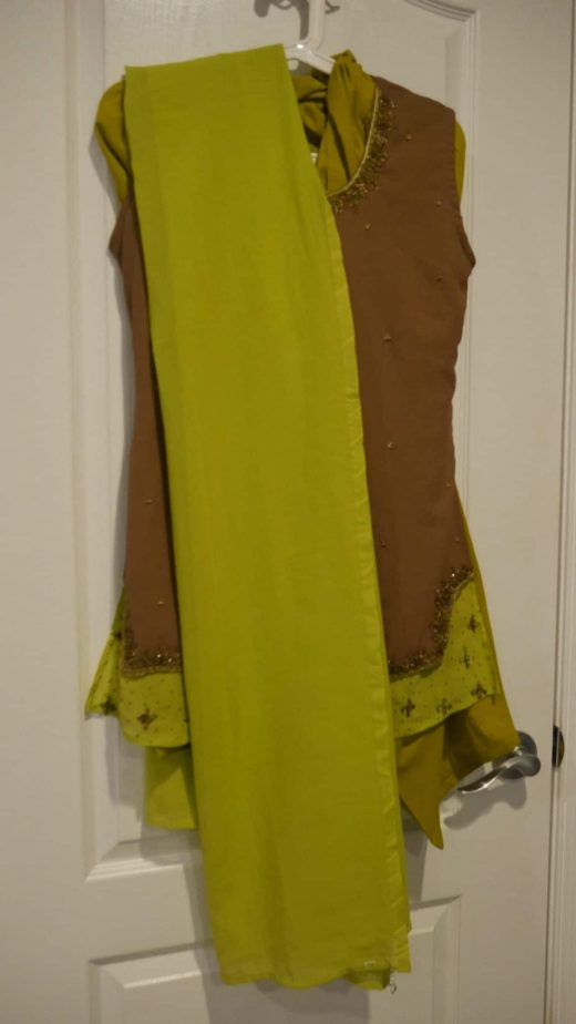 lime green and brown salwar