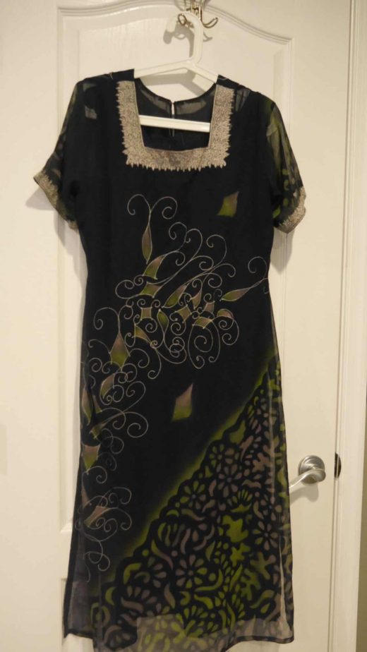 front of navy blue salwar with green and grey design