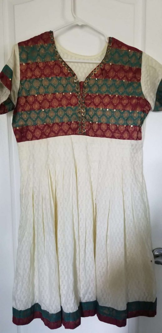 White salwar with green and maroon top