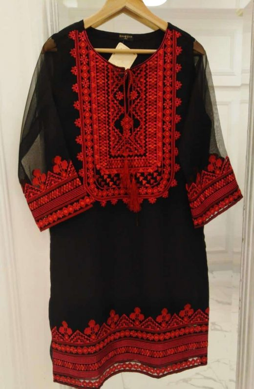 Red and Black Agha Noor Kurta