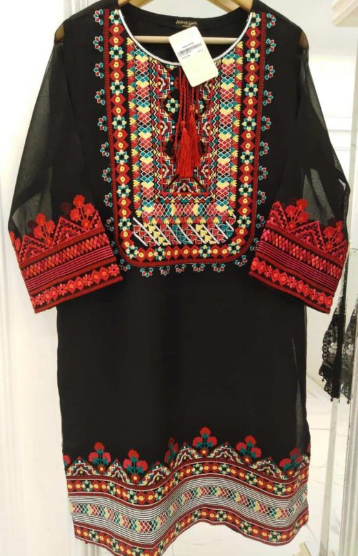 black kurta with green, red, and yellow embroidery
