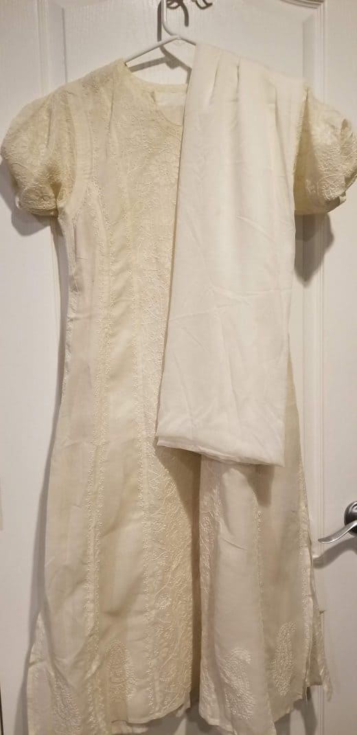 white salwar with embroidery