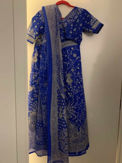 blue and silver lehenga