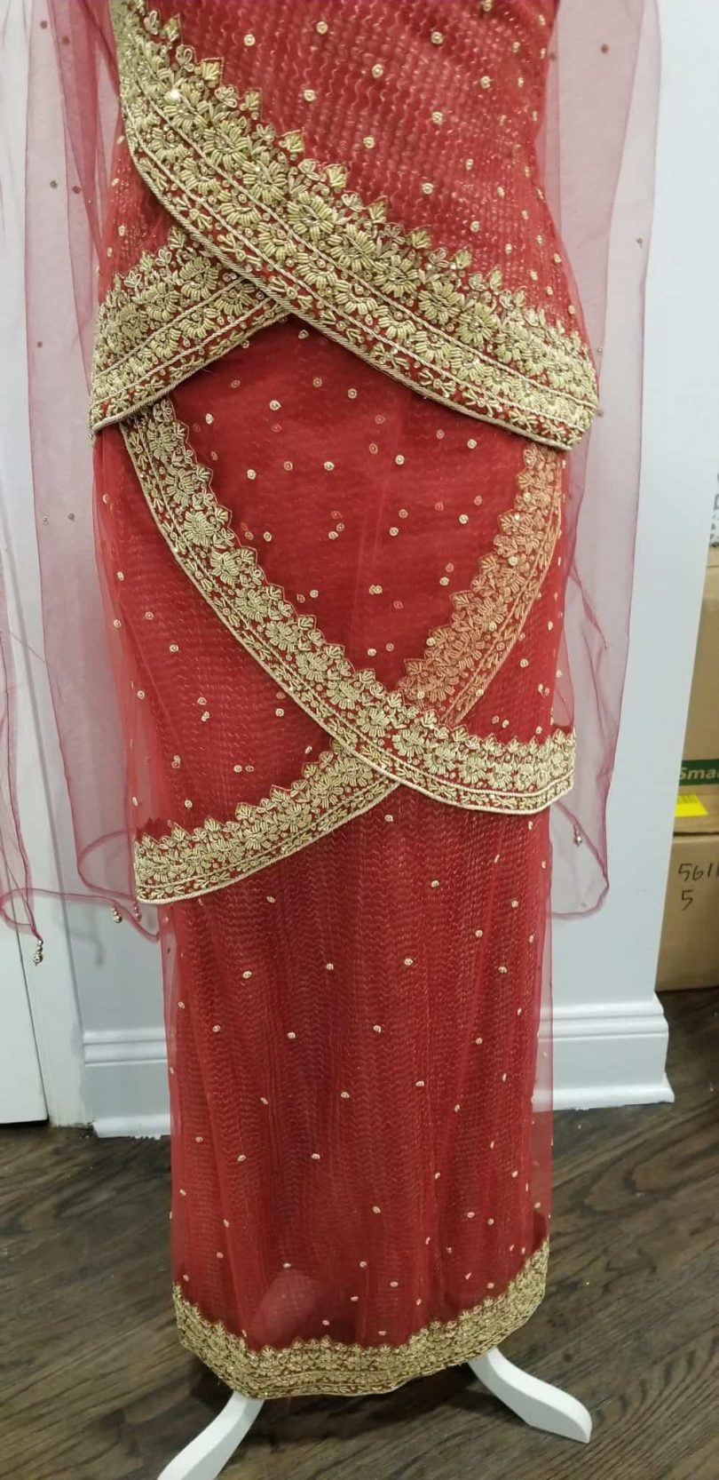 bottom of pinkish red lehenga