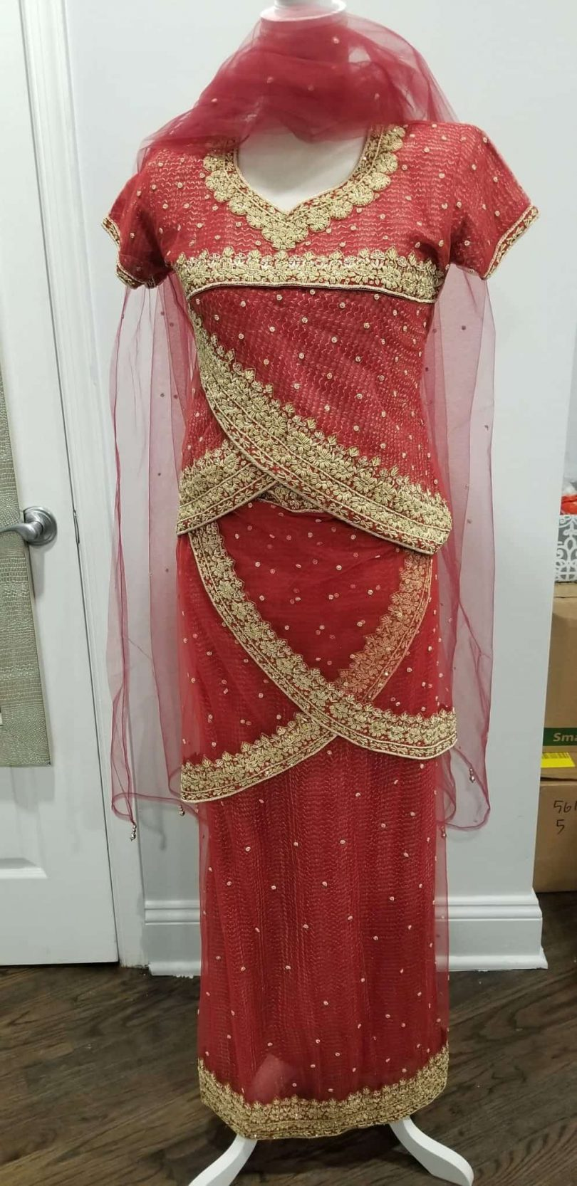 pinkish red lehenga