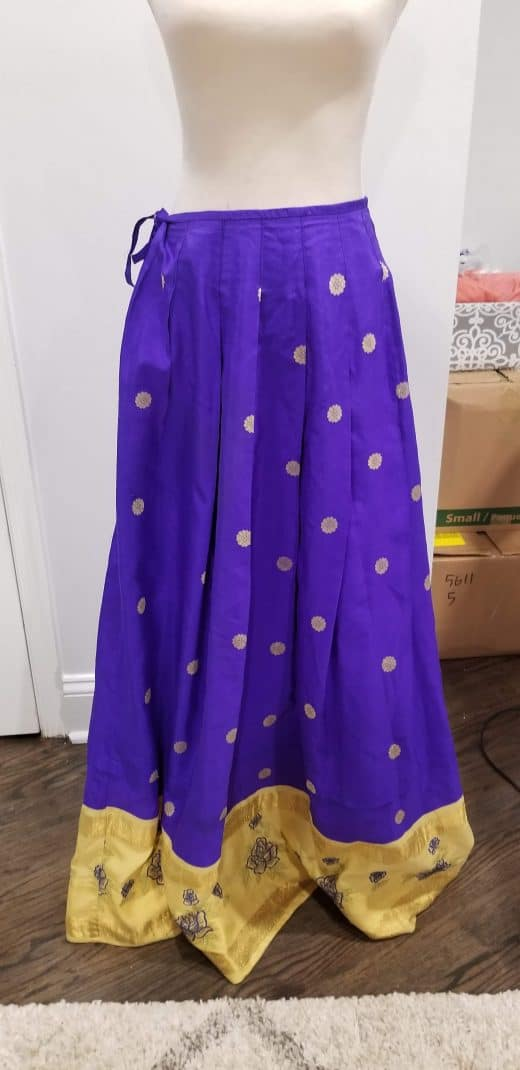 purple skirt with gold work