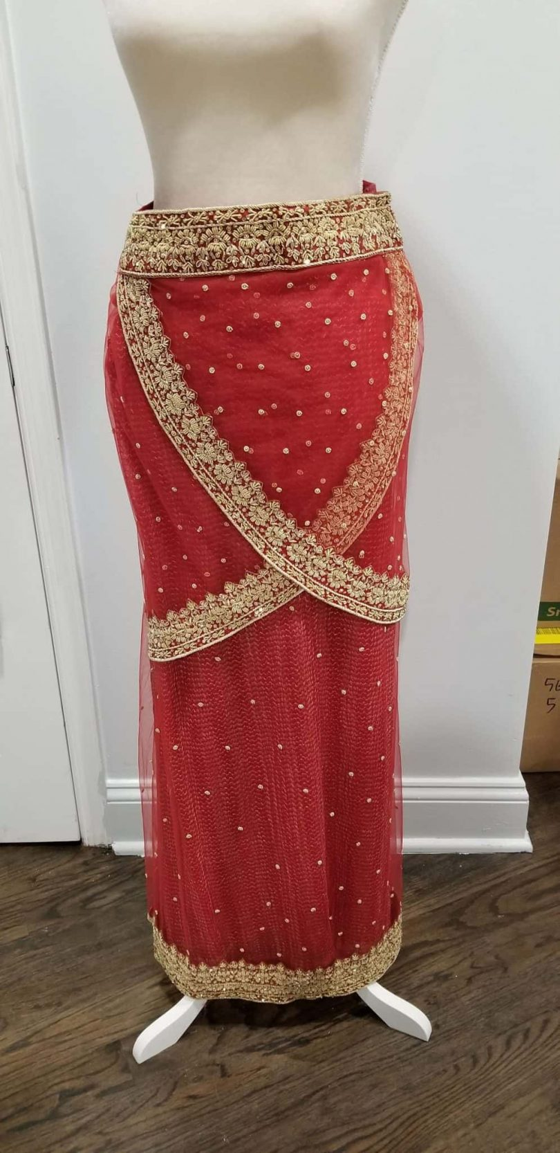 skirt of pinkish red lehenga