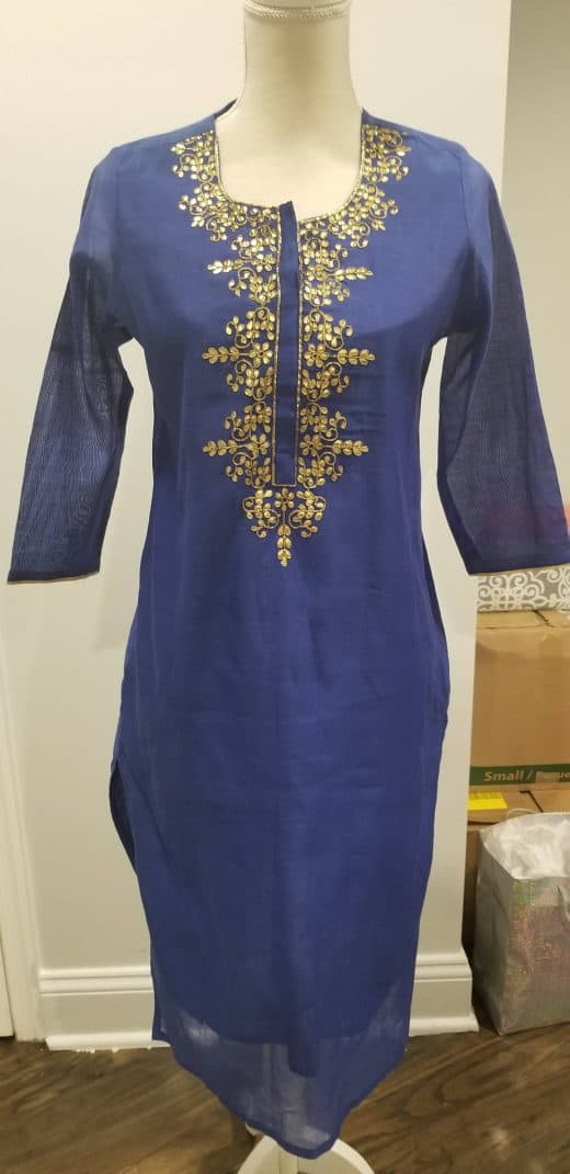 blue and gold tunic top