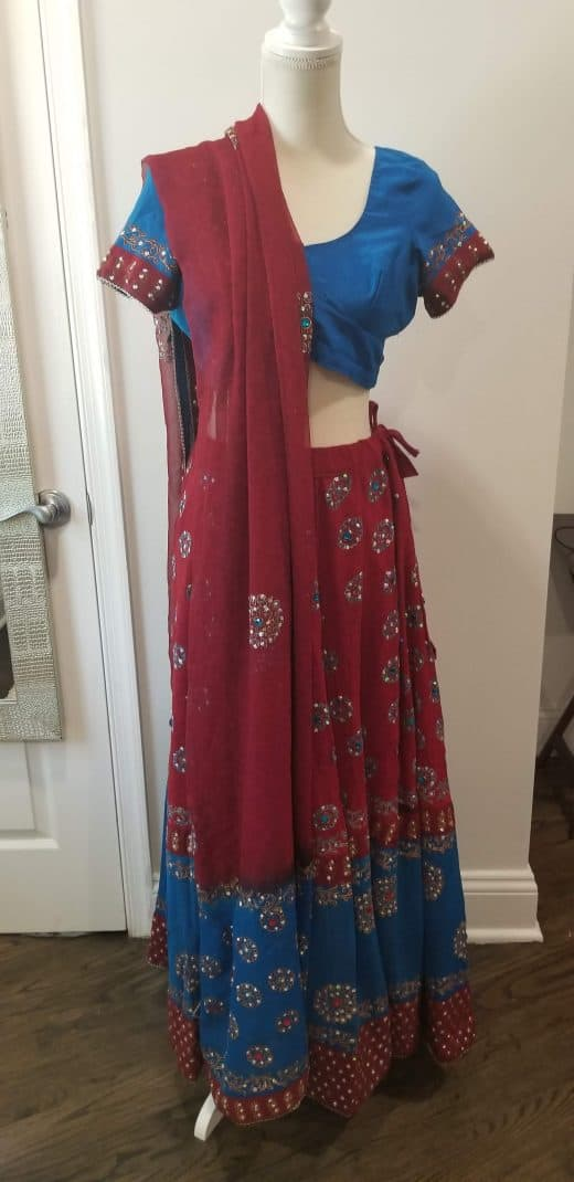 front of blue and pink lehenga