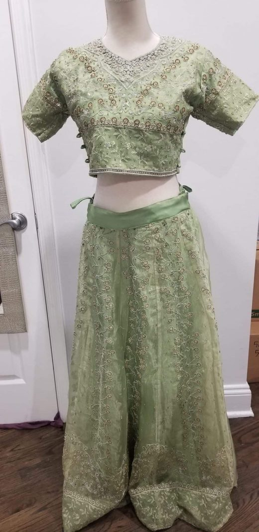green and silver lehenga