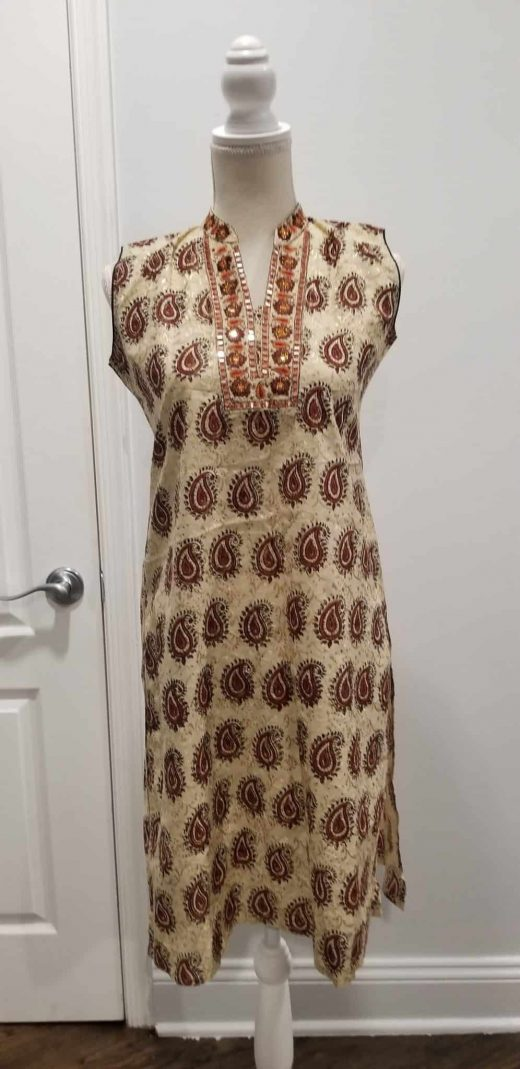 red and brown paisley tunic