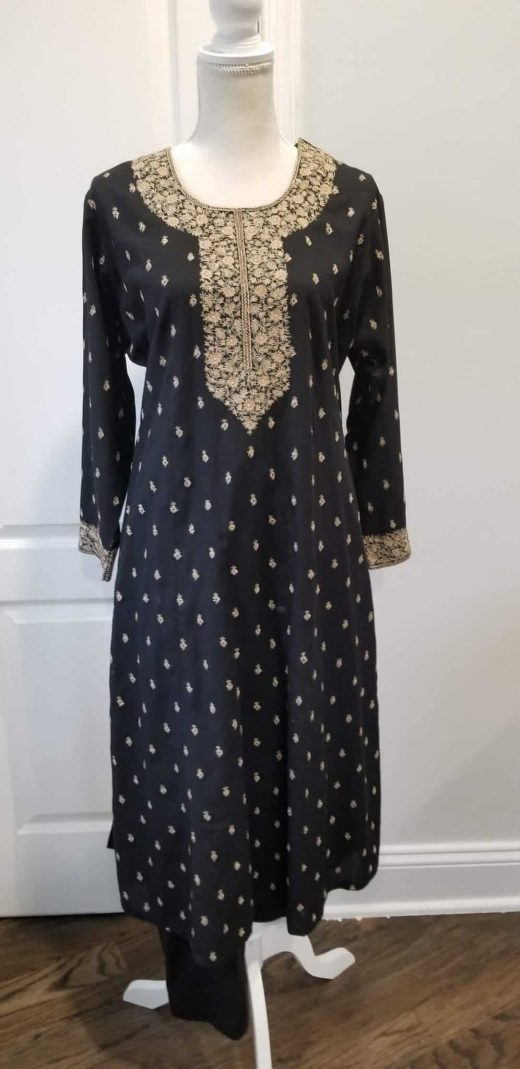 black salwar with beige embroidery