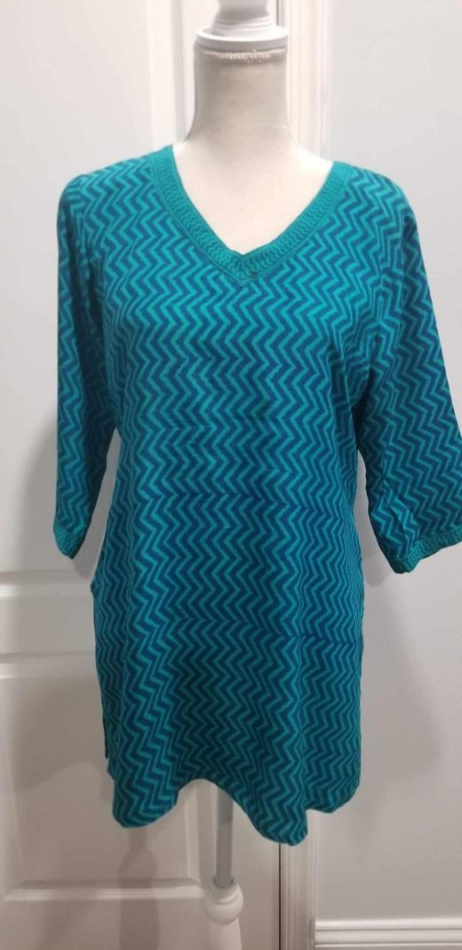 blue and green zig zag tunic front 2