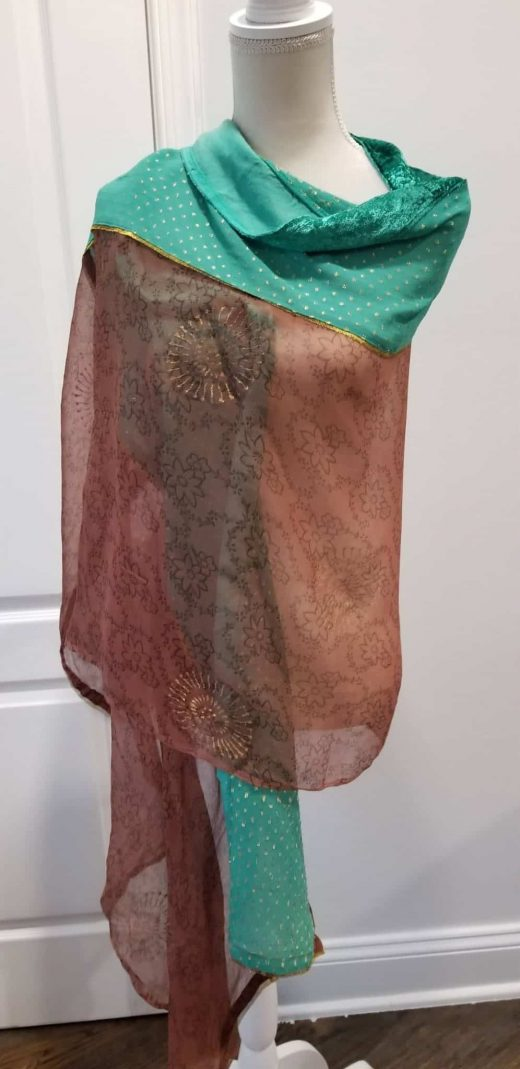 brown and green shawl velvet green trim