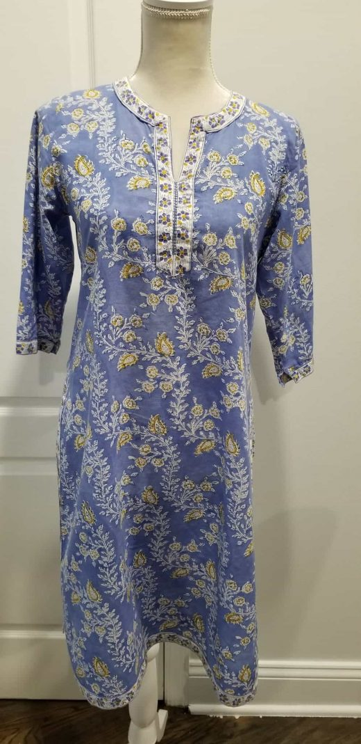 front blue tunic yellow paisley white flowers
