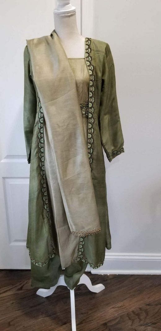 front green and brown salwar