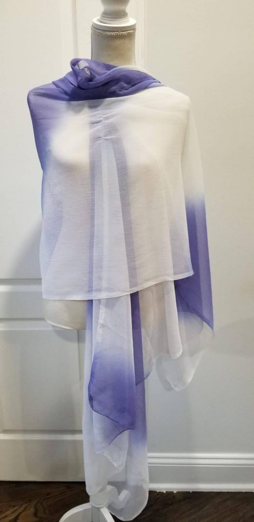 wrapped blue and white ombre shawl