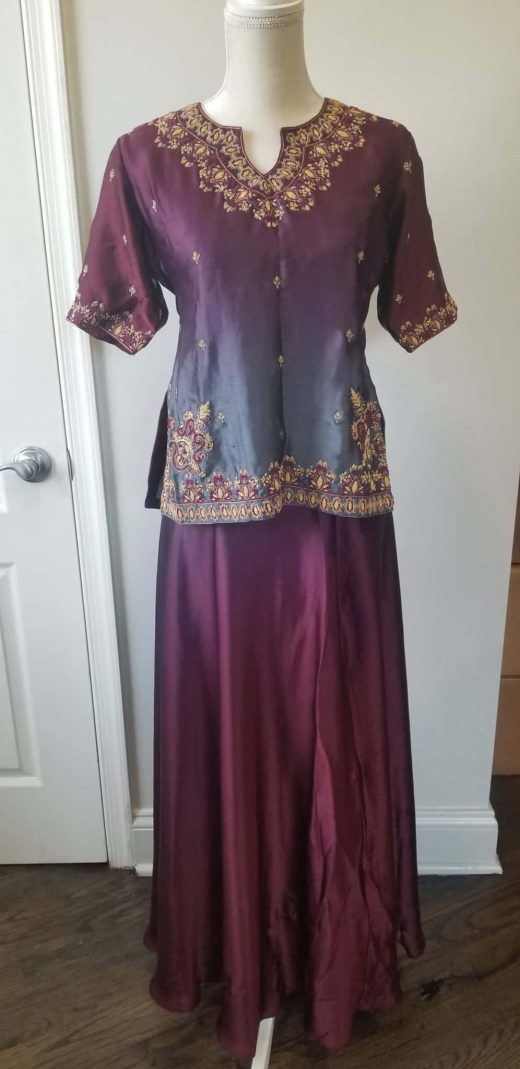 front gray and maroon lehenga
