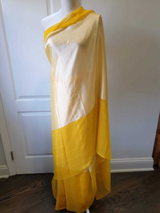 yellow and gold striped saree