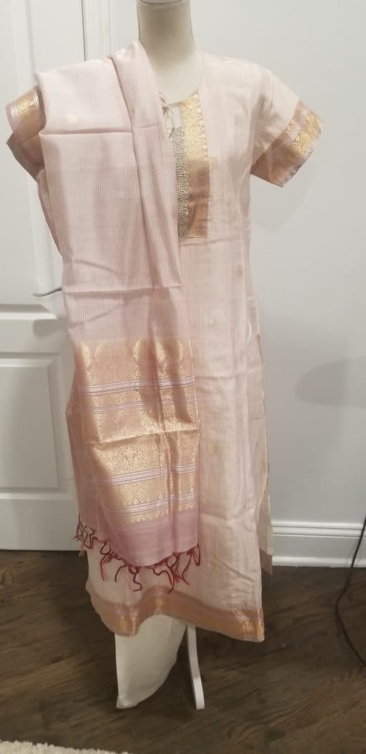 pink, white, silver, and gold salwar